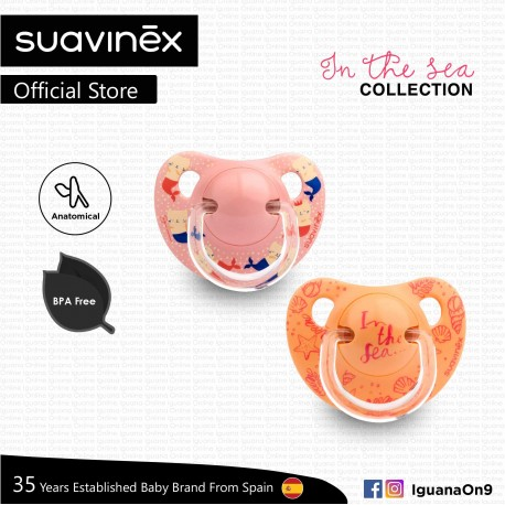 Suavinex In The Sea Collection BPA Free 6 - 18 Months Anatomical Soother Pacifier Set (Pink Mermaid