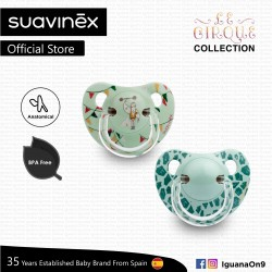 Suavinex Circus Collection BPA Free 6 - 18 Months Anatomical Soother Pacifier Set (Green Strong Man + Green Pattern)