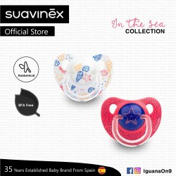 Suavinex In The Sea Collection BPA Free 18+ Months Anatomical Soother Pacifier Set (Pink Sea Star +