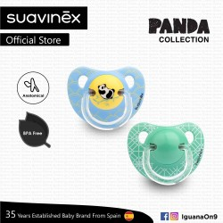 Suavinex Panda Collection BPA Free 18+ Months Anatomical Soother Pacifier Set (Blue Panda + Teal Pat