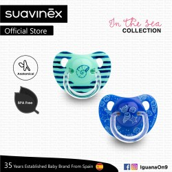 Suavinex In The Sea Collection BPA Free 18+ Months Anatomical Soother Pacifier Set (Teal Seashell +