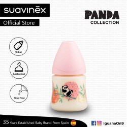 Suavinex Panda Collection BPA Free 150ml Wide Neck Baby Feeding Bottle with Anatomical Teat (Pink Panda)