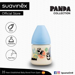 Suavinex Panda Collection BPA Free 150ml Wide Neck Baby Feeding Bottle with Anatomical Teat (Blue Pa