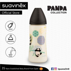 Suavinex Panda Collection BPA Free 360ml Wide Neck Baby Feeding Bottle with Anatomical Teat (Black Panda)