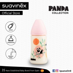 Suavinex Panda Collection BPA Free 270ml Wide Neck Baby Feeding Bottle with Anatomical Teat (Pink Panda)