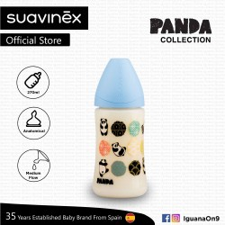 Suavinex Panda Collection BPA Free 270ml Wide Neck Baby Feeding Bottle with Anatomical Teat (Blue Pa