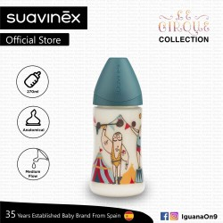 Suavinex Circus Collection BPA Free 270ml Wide Neck Baby Feeding Bottle with Anatomical Teat (Strong