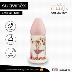 Suavinex Circus Collection BPA Free 270ml Wide Neck Baby Feeding Bottle with Anatomical Teat (Ballerina)