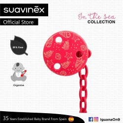 Suavinex In The Sea Collection BPA Free Round Soother Pacifier Clip (Red Sea)