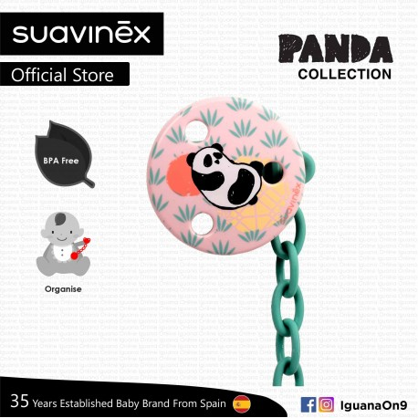Suavinex Panda Collection BPA Free Round Soother Pacifier Clip (Pink Panda)