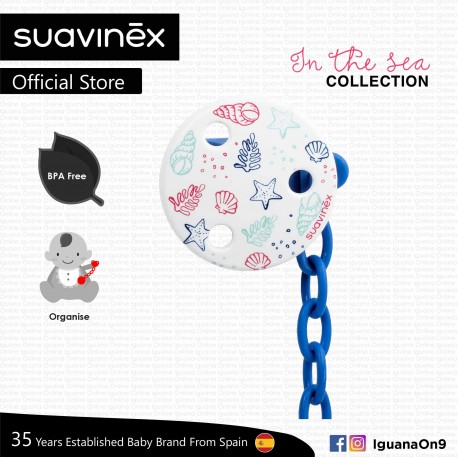 Suavinex In The Sea Collection BPA Free Round Soother Pacifier Clip Green (Seaweed)