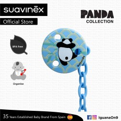 Suavinex Panda Collection BPA Free Round Soother Pacifier Clip (Blue Panda)