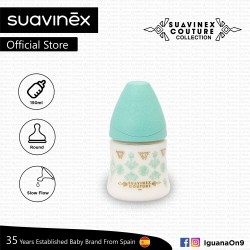 Suavinex Couture Collection BPA Free 150ml Wide Neck Baby Feeding Bottle with Round Teat (Teal)