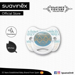 Suavinex Couture Collection BPA Free 4 - 18 Months Physiological Soother Pacifier (Light Blue)