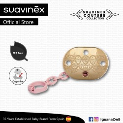 Suavinex Couture Collection BPA Free Premium Soother Pacifier Clip (Pink)