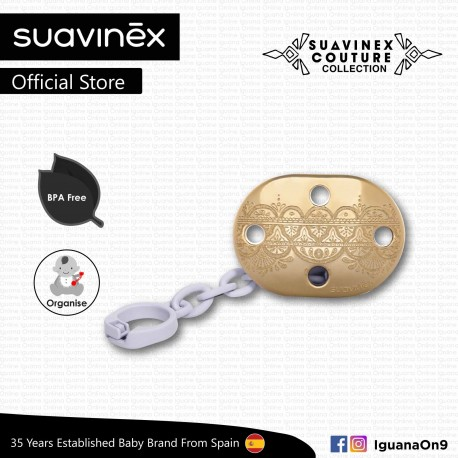 Suavinex Couture Collection BPA Free Premium Soother Pacifier Clip (Light Purple)