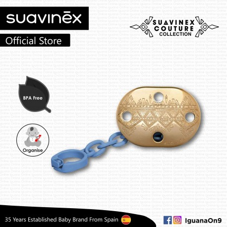 Suavinex Couture Collection BPA Free Premium Soother Pacifier Clip (Dark Blue)