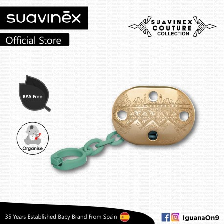 Suavinex Couture Collection BPA Free Premium Soother Pacifier Clip (Green)