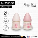 Suavinex Rose and Blue Collection BPA Free 150ml Wide Neck Baby Feeding Bottle with Anatomical Teat (Pink)
