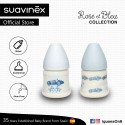 Suavinex Rose and Blue Collection BPA Free 150ml Wide Neck Baby Feeding Bottle with Anatomical Teat (Blue)