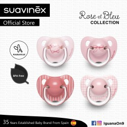 Suavinex Rose and Blue Collection BPA Free 6 - 18 Months Anatomical Soother Pacifier Set (Pink Random Pattern x 2 pcs)