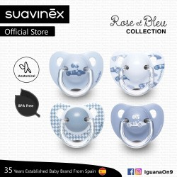 Suavinex Rose and Blue Collection BPA Free 6 - 18 Months Anatomical Soother Pacifier Set (Blue Random Pattern x 2 pcs)