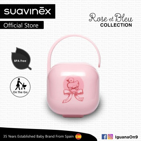 Suavinex Rose and Blue Collection BPA Free Soother Pacifier Holder Box (Pink)