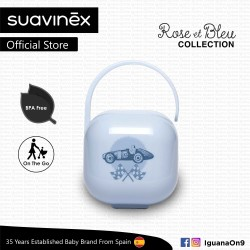 Suavinex Rose and Blue Collection BPA Free Soother Pacifier Holder Box (Blue)
