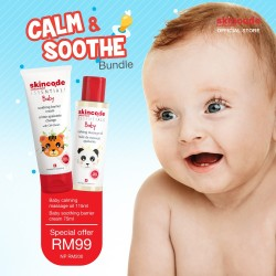 [Bundle Promotion] Skincode Baby Calming Massage Oil 115ml & Baby Soothing Barrier Cream 75ml