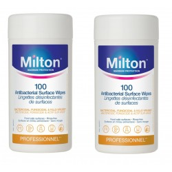MILTON Antibacterial Surface Wipes (100 Wipes) x 2 Canisters