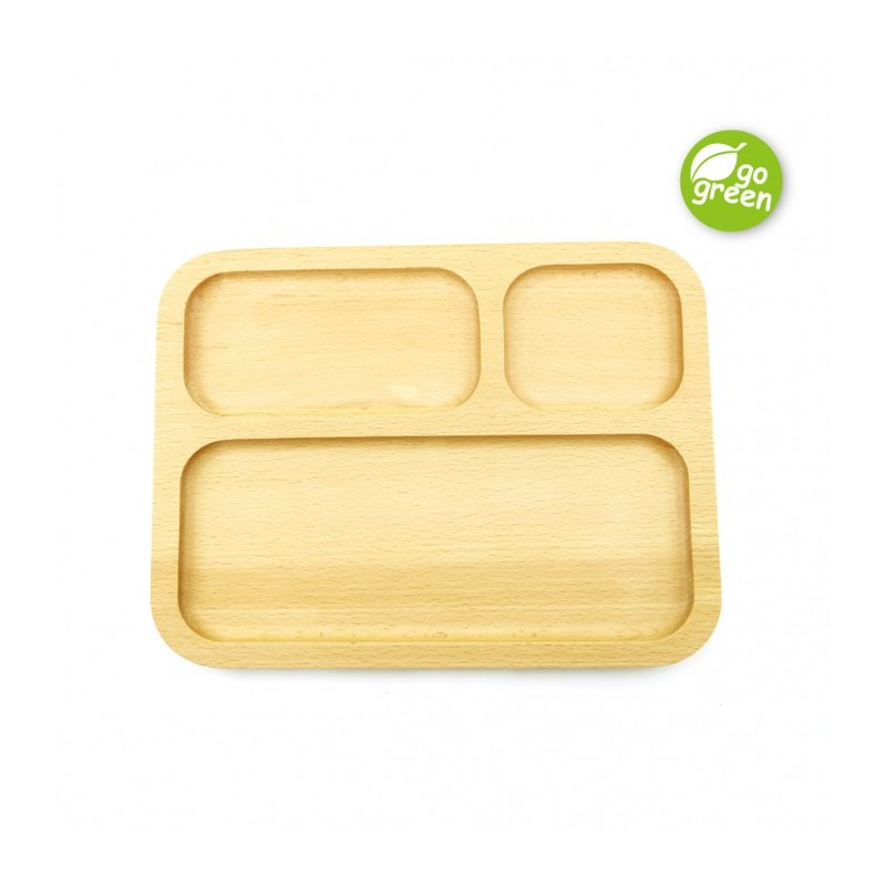 Haakaa Wooden Divided Plate Rectangle Feeding