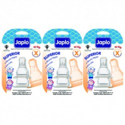 Japlo Superior Anti Colic Teat X-Cut - 3 pcs x 3 Blister Cards (3 Blister Cards in 1)