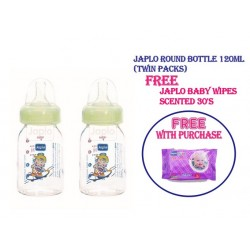 Japlo Round 120Ml Feeding Bottle + FREE Japlo Baby Wipes Scented 30's