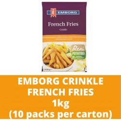 JG Emborg Crinkle French Fries 1kg (10 packs per carton)