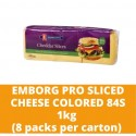 JG Emborg Pro Sliced Cheese Colored 84S 1kg (8 packs per carton)