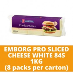 JG Emborg Pro Sliced Cheese White 84S 1kg (8 packs per carton)
