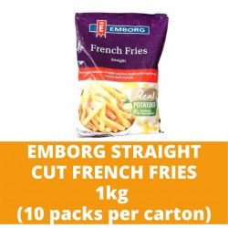 JG Emborg Straight Cut Frech Fries 1kg (10 packs per carton)