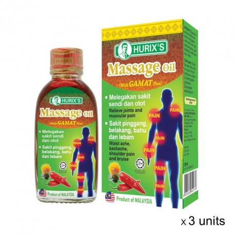 Hurix's Massage Oil (with Gamat Plus) (28ml x 3 Boxes)