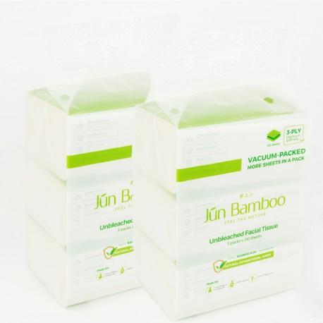 Jun Bamboo Unbleached Bamboo Facial Tissue x 2 (Gift Pack)