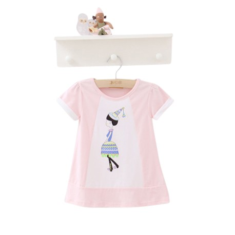 Kimi Mommy Toddler Printed Short Sleeve Long T-shirt