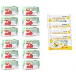 K-Mom Natural Pureness Premium Baby Wet Wipes Embo Combo 12 x 20pcs+ free 10pcs wet tissue 4 packs