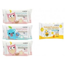 K-Mom Natural Pureness Baby Wet Wipes 3 Packs (100pcs) + Free 1 Packs Wet Tissue (10pcs)