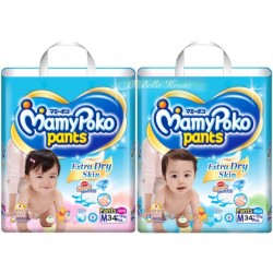 MamyPoko Extra Dry Skin Girls Pants M34 x 4 Packs (FREE Vcoool Nursing Cover worth RM49)