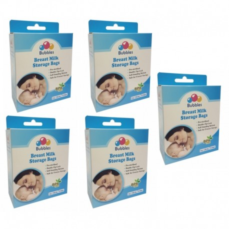 Bubbles Double ZipLock Breastmilk Storage Bag *7oz* (5 packs) + Free V-Coool Reusable Ice Pack (Twin Pack)