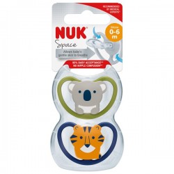 NUK Space Silicone Soother S1 With Cover (0-6m) *2pcs*