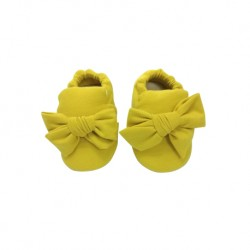 Aikaydan Ribbon Bow Slip On Shoes (Mustard)