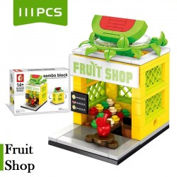 Little B House Mini Store DIY Building Bricks Micro Street Shop Educational Kids Toys - BT186 (Fruit Shop)