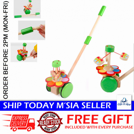 Little B House Wooden Pull Rotating Butterfly Wheel Car Walker Toys - BT160