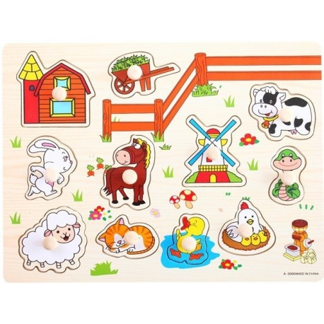 Little B House Preschool Educational Wood Puzzle- Animal & Insect - BKM37