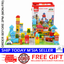 Little B House 62pcs Wooden Urban City Building Block Educational Toys - BT147